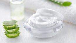 Aloe vera cosmetic cream, herb slices, skin face body care